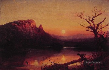 Lake Pond Waterfall Painting - Sunset Eagle Cliff landscape Jasper Francis Cropsey