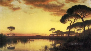 Lake Pond Waterfall Painting - Sunset Glow Roman Campagna scenery William Stanley Haseltine Landscape