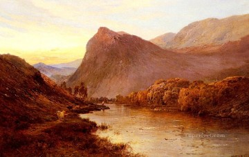 Lake Pond Waterfall Painting - Sunset In The Glen landscape Alfred de Breanski Snr
