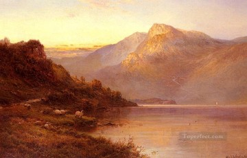 Lake Pond Waterfall Painting - Sunset On The Loch landscape Alfred de Breanski Snr
