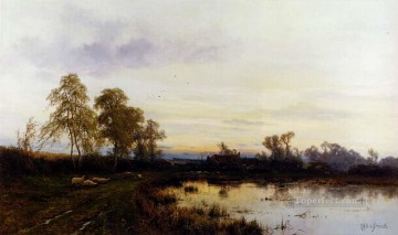 Lake Pond Waterfall Painting - Sunset Over A Farmyard landscape Alfred de Breanski Snr