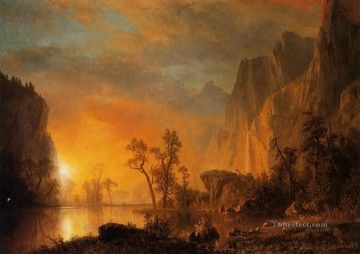 Sunset Art - Sunset in the Rockies Albert Bierstadt Landscape