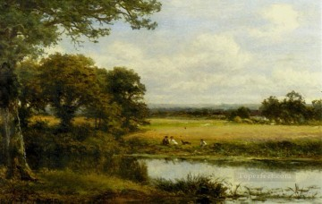 Lake Pond Waterfall Painting - Surrey Cornfields landscape Benjamin Williams Leader