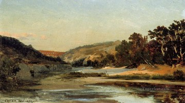 Lake Pond Waterfall Painting - The Aqueduct in the Valley Jean Baptiste Camille Corot
