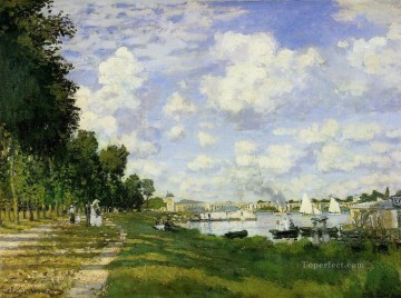 Argenteuil Canvas - The Basin at Argenteuil Claude Monet Landscape
