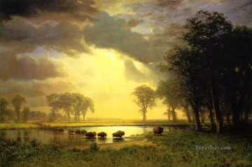 The Buffalo Trail Albert Bierstadt Landscape Oil Paintings