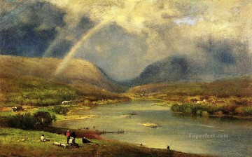 Lake Pond Waterfall Painting - The Deleware Water Gap landscape Tonalist George Inness