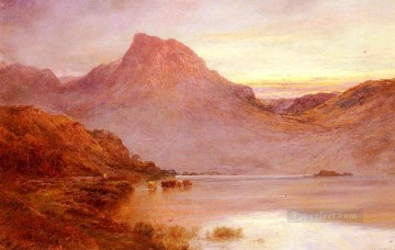 Lake Pond Waterfall Painting - The Evening Glow Near Arrochar landscape Alfred de Breanski Snr
