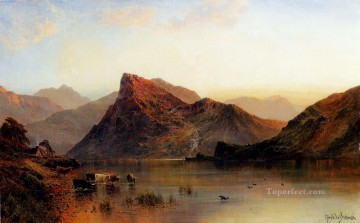 Lake Pond Waterfall Painting - The Glydwr Mountains Snowdon Valley Wales landscape Alfred de Breanski Snr