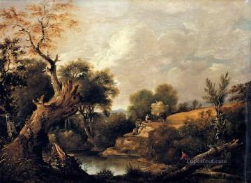 Lake Pond Waterfall Painting - The Harvest Field Romantic landscape John Constable