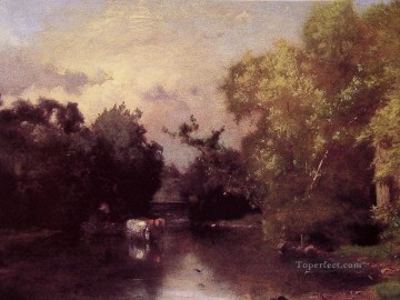 Lake Pond Waterfall Painting - The Pequonic New Jersey landscape Tonalist George Inness