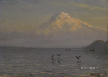 VIEW OF MOUNT RAINIER WITH FISHERMEN American Albert Bierstadt lake landscape Oil Paintings