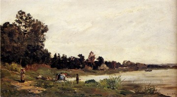 Washerwomen In A River Landscape scenes Hippolyte Camille Delpy Oil Paintings