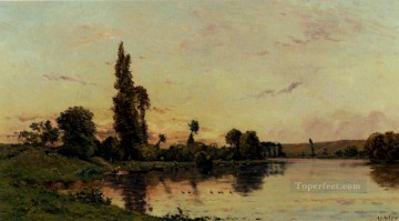 Washerwomen On A Riverbank scenes Hippolyte Camille Delpy Landscape Oil Paintings