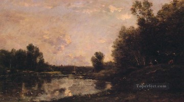Lake Pond Waterfall Painting - a june day Barbizon Impressionism landscape Charles Francois Daubigny