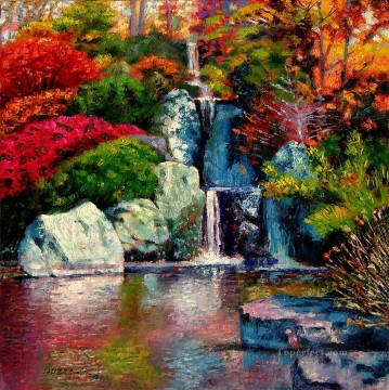 Lake Pond Waterfall Painting - japanese waterfall