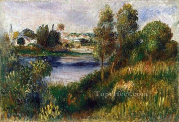 Lake Pond Waterfall Painting - landscape at vetheuil Pierre Auguste Renoir