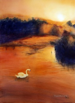 swan in red water Landscape Oil Paintings