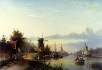 Boats On A Dutch Canal Jan Jacob Coenraad Spohler Landscape Oil Paintings