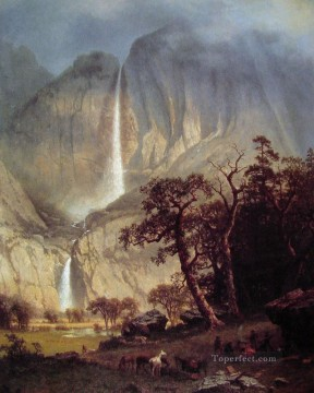 Lake Pond Waterfall Painting - Cholooke Albert Bierstadt Landscape waterfall