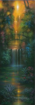 Lake Pond Waterfall Painting - Garden of Gold waterfall