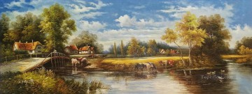 Idyllic Countryside Landscape Farmland Scenery 0 304 lake landscape Oil Paintings
