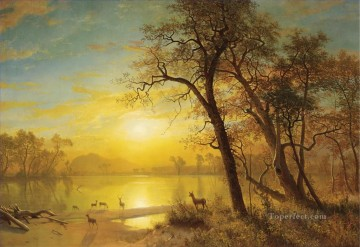 Mountain Lake American Albert Bierstadt landscape Oil Paintings