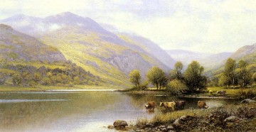 Lake Pond Waterfall Painting - Near Capel Curig North Wales landscape Alfred Glendening