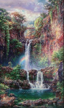 Lake Pond Waterfall Painting - Sacred Pools waterfall