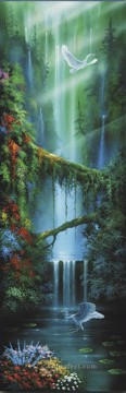 Lake Pond Waterfall Painting - Serenity Falls