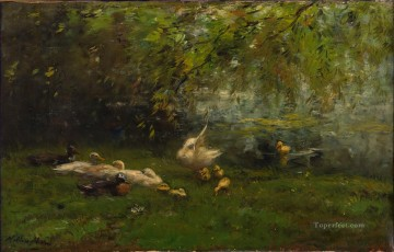 Willem Maris Duck heaven Landscape Oil Paintings