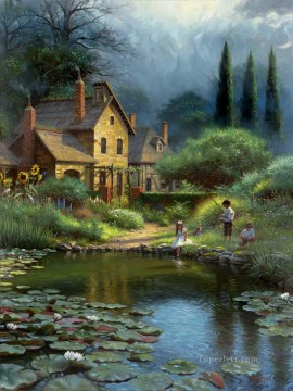 children and puppy by waterlily pond Landscape Oil Paintings