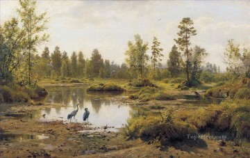 lake pond Painting - marsh polissia birds classical landscape Ivan Ivanovich pond