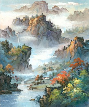 chinese Painting - Chinese Landscape Shanshui Mountains Waterfall 0 955 from China