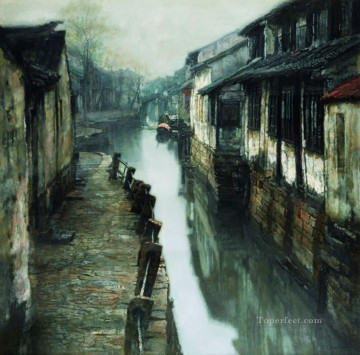 outdoor landscape landscapes scenery scenes impasto kinkade venice seascape street Painting - Water Street in Ancient Town Landscapes from China