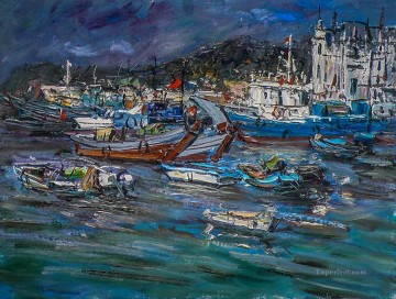 Artworks in 150 Subjects Painting - fishing port China scenery