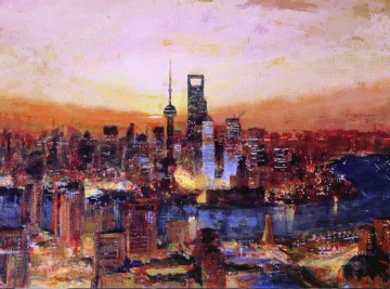 Artworks in 150 Subjects Painting - sunrise in Shanghai China scenery