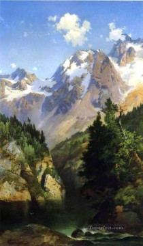 Mountain Painting - A Rocky Mountain Peak Idaho Territory landscape Thomas Moran
