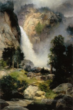 Mountain Painting - Cascade Falls Yosemite landscape Thomas Moran mountains