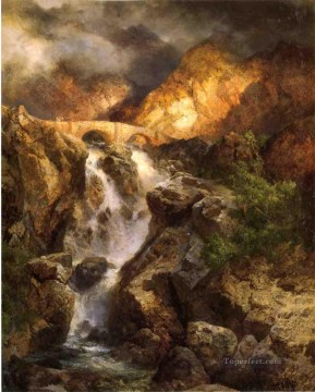 Cascading Water landscape Thomas Moran mountains Oil Paintings