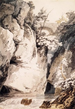 Mountain Painting - Como watercolour scenery Thomas Girtin Mountain