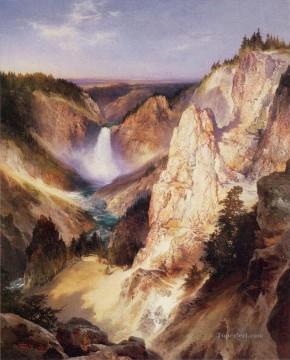 Mountain Painting - Great Falls of Yellowstone landscape Thomas Moran mountains
