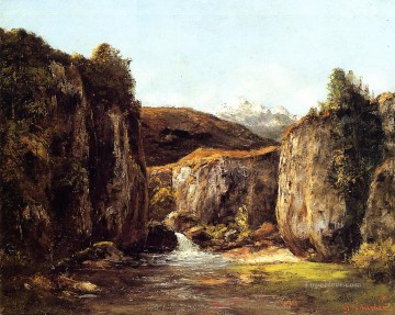 Mountain Painting - Landscape The Source among the Rocks of the Doubs Realism Gustave Courbet Mountain