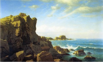 Mountain Painting - Nahant Rocks scenery William Stanley Haseltine Mountain