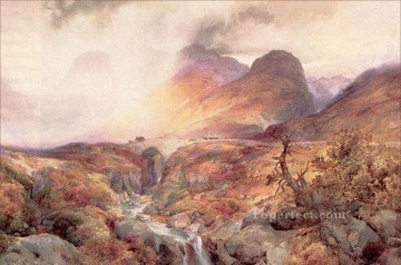 Pass at Glencoe Scotland landscape Thomas Moran mountains Oil Paintings