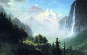 Staubbach Falls Near Lauterbrunnen Switzerland Albert Bierstadt Mountain Oil Paintings