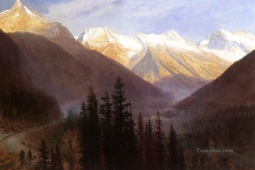 Sunrise at Glacier Station Albert Bierstadt Mountain Oil Paintings