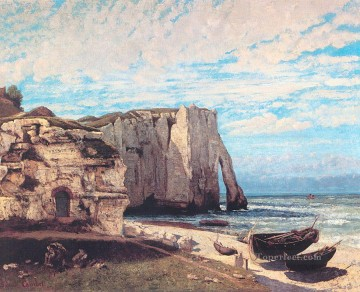 Mountain Painting - The Cliff at Etretat After the Storm landscape Gustave Courbet Mountain