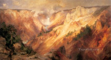 The Grand Canyon of the Yellowstone landscape Thomas Moran mountains Oil Paintings