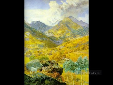 The Val d Aosta 1858 landscape Brett John Mountain Oil Paintings